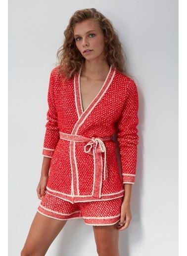 Join Us Kuşaklı Triko Ceket Kırmızı